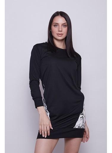 Jument Kadın Sıfır Yaka Cep Detaylı Uzun Kol Sweat Elbise -Siyah Siyah